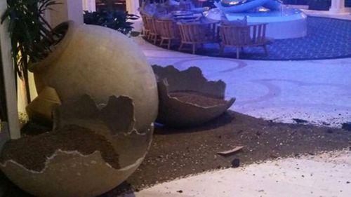 Broken plant pots on board the ship. (Photo: @LeannaPetrone)