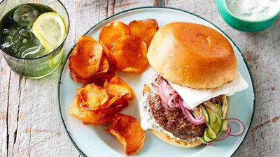 "Recipe:&nbsp;<a href=""http://kitchen.nine.com.au/2017/02/03/14/54/lamb-and-feta-burger-with-sweet-potato-crisps"" target=""_top"" draggable=""false"">Lamb and feta burger with sweet potato crisps</a>"