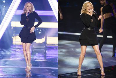 """The Voice coach Kylie Minogue opened last night's show with the world premiere of her new song 'Sexy Love' mashed up with her classic 'Love at First Sight'. And it was a booty-shaking bonanza!<br/><br/>We've got all the sexy pics from the performance right here... and scroll to the end for Today's exclusive morning-after chat with Kylie!<br/><br/>Author: Adam Bub. <b><a target=""""_blank"""" href=""""http://twitter.com/TheAdamBub"""">Follow on Twitter</a></b>. Approved by Amy Nelmes.<br/><br/>Visit <b><a target=""""_blank"""" href=""""http://thevoice.com.au"""">thevoice.com.au</a></b> for catch-up TV and exclusives.<br/><br/>Images: Nine"""