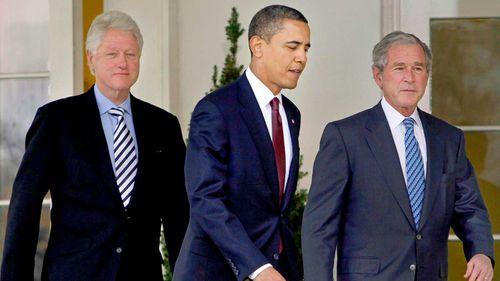 Presidents Bill Clinton, Barack Obama and George W Bush in 2010.