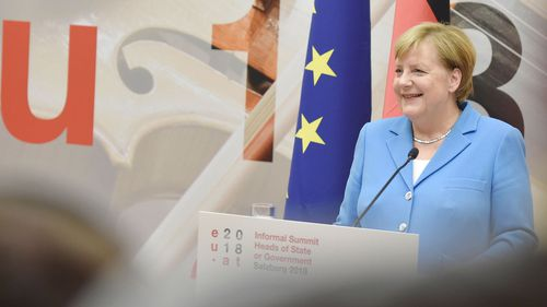 German Chancellor Angela Merkel speaks during a press conference at the European Union's Informal Heads of State Summit.
