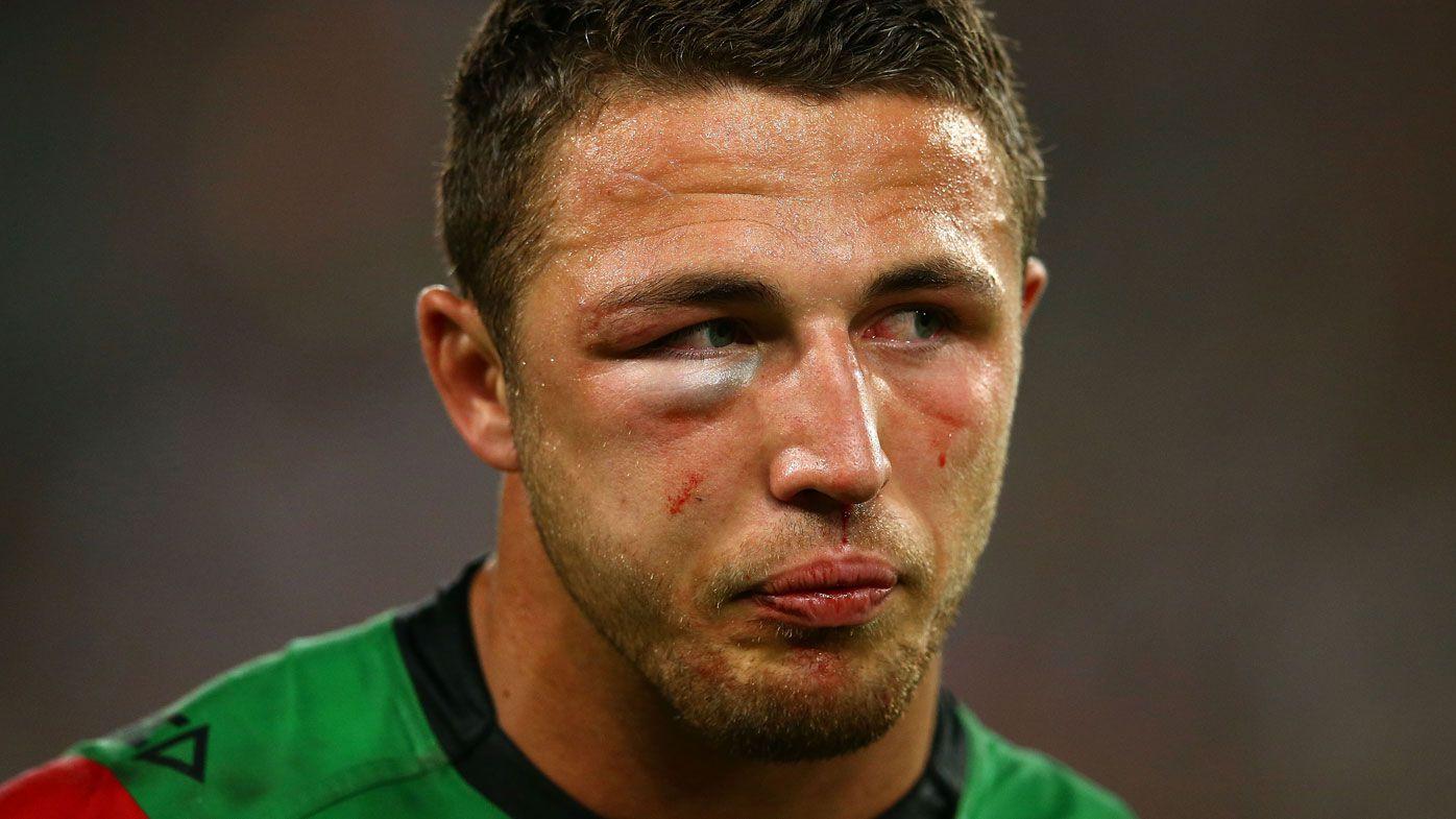 Sam Burgess plays through a fractured cheek bone in the 2014 NRL Grand Final