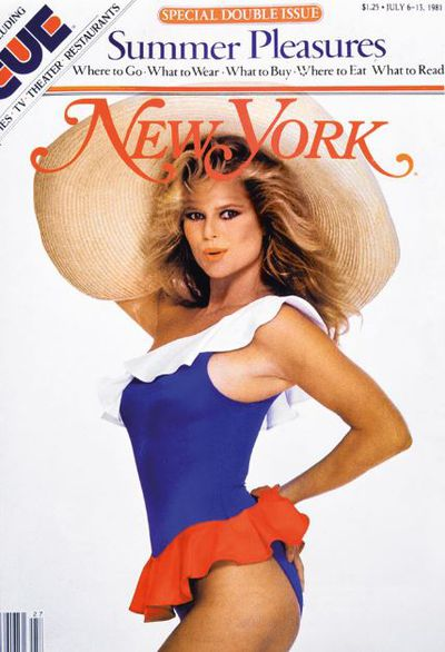 A cheeky pose from Christie Brinkley on the cover of <em>New York</em> magazine in 1983.