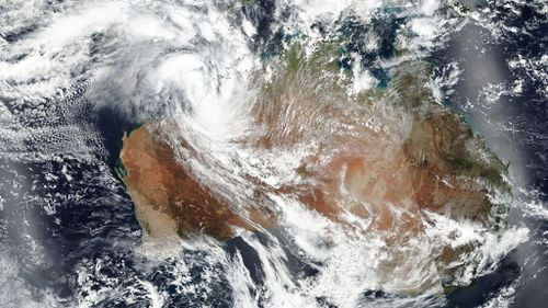 A satellite picture showing the fast-moving Tropical Cyclone heading in the direction of Western Australia's north-west. (NASA)