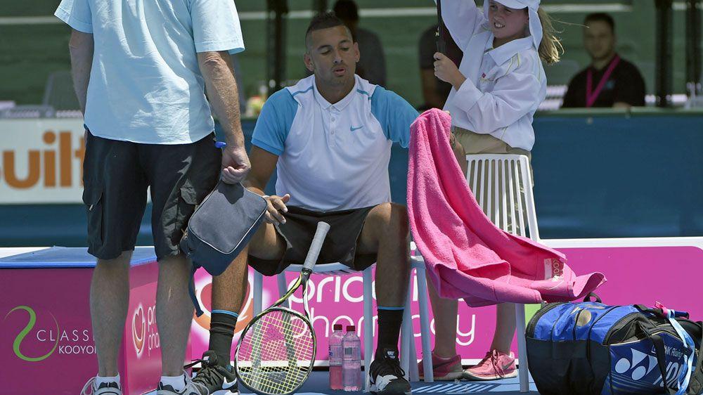 Kyrgios quits Kooyong with foot injury