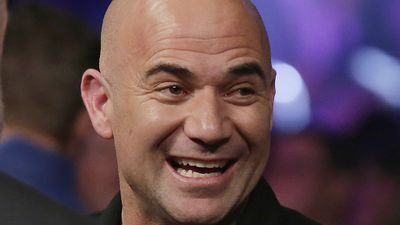Tennis legend Andre Agassi seen in the crowd before Mayweather vs Pacquiao in Las Vegas. (AAP)