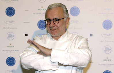 French chef Alain Ducasse poses for photographers as he celebrates the 25th anniversary of his restaurant Le Louis XV in Monte Carlo, Saturday, Nov. 17, 2012, in Monaco.