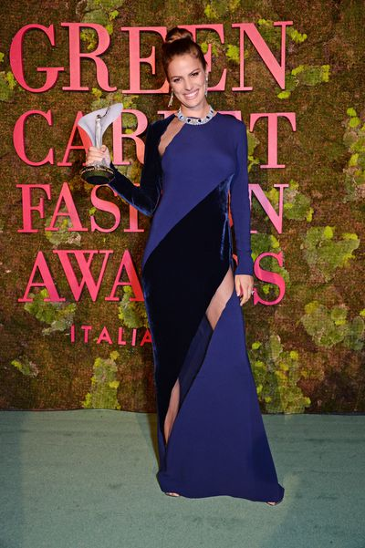Model Cameron Russell stunned in a deep lilac gown from Stella McCartney. The dress is made of CanopyStyle sustainable viscose, ensuring that the world's ancient and endangered forests are not used to create fabrics.