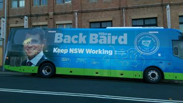 NSW Premier Mike Baird's campaign bus was vandalised in the Blue Mountains overnight. (9NEWS)