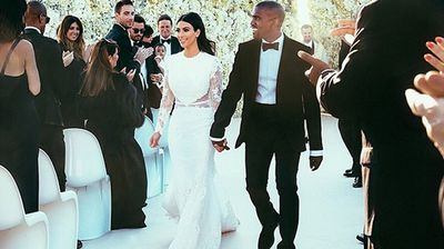 She wore a custom-made Givenchy Haute Couture mermaid silhouette gown and he wore a bespoke Givenchy suit (Instagram).
