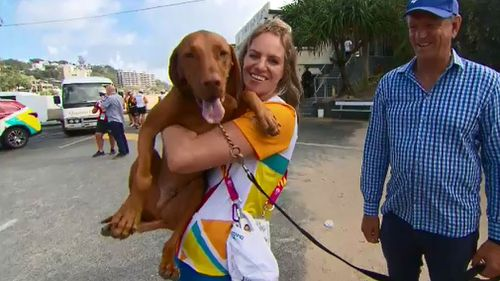 Emily Seebohm and her dog Max. (9NEWS)
