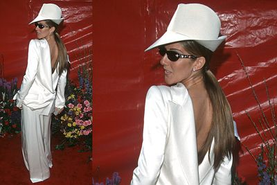 <b>Celine Dion 1999</b><br/><br/>Nothing compliments a woman's body better than a back to front, oversized man's suit.