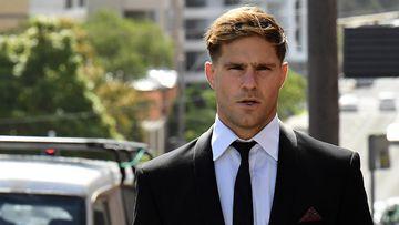 Jack de Belin arriving at Wollongong court today.