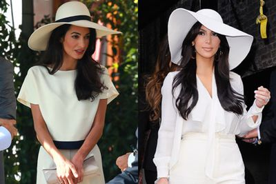 <br/><br/>We knew we'd seen Amal's pre-wedding jumpsuit and floppy hat combo before. <br/><br/>Yep, Kim Kardashian rocked this chic look back in October 2011 on the streets of New York.