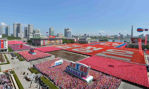 """US President Donald Trump says North Korea's decision to withhold its most advanced missiles from Sunday's military parade is a """"big and very positive statement""""."""
