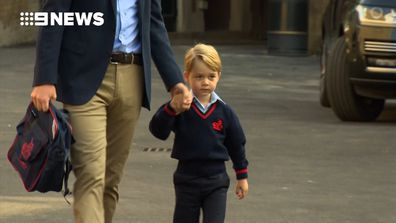 Prince George arrives for his first day of school