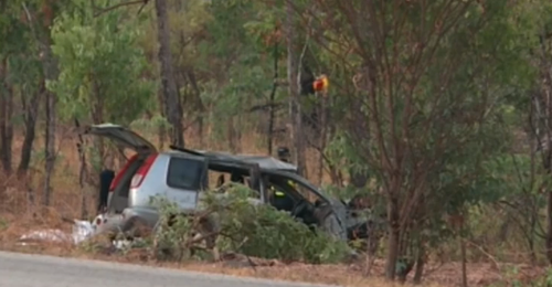Police confirmed the vehicle rolled multiple times before landing in a ditch off the Kakadu highway.