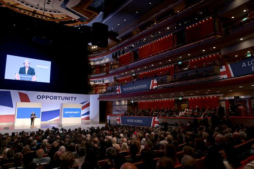 The auditorium in Birmingham packed to hear Theresa May address the Conservative Party  conference.