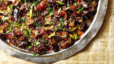 """Recipe: <a href=""""http://kitchen.nine.com.au/2017/10/10/11/32/sticky-spicy-eggplant-with-toasted-sesame-seeds"""" target=""""_top"""">Sticky, spicy eggplant with toasted sesame seeds and spring onions</a>"""