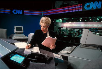CNN anchor Bobbie Battista on air, reporting news, on Cable News Network set.