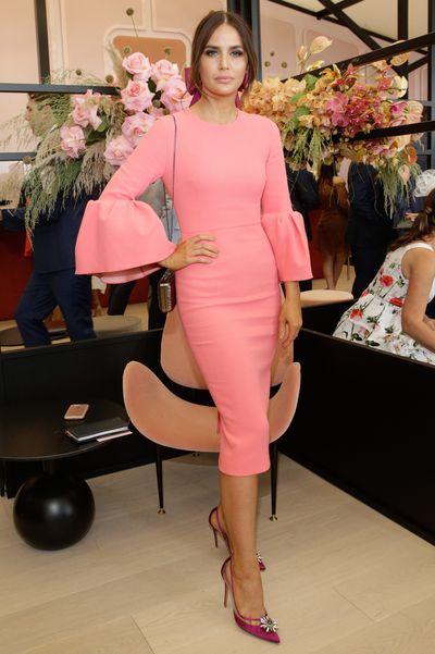 Myer ambassador Jodi Anasta in Roksanda dress with Kim Fletcher headpiece at Melbourne Cup Day.