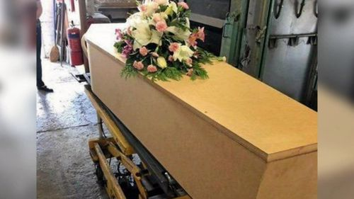 The pine coffin Ms Valigura's body was placed in.
