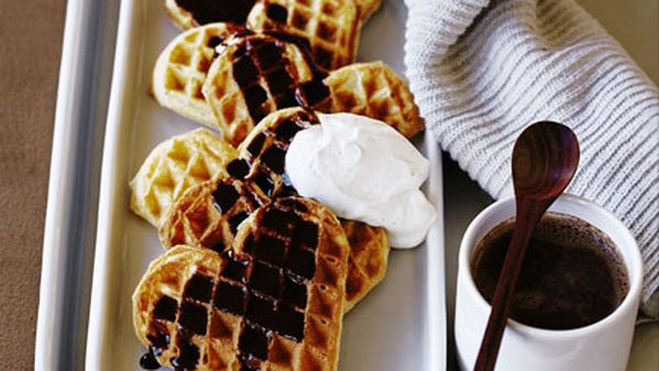 Waffles with chocolate and Pedro Ximénez sauce