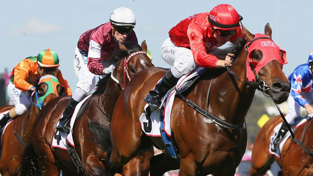 Redzel beat a quality field to beat the Mumm Stakes at Flemington. (Getty Images)