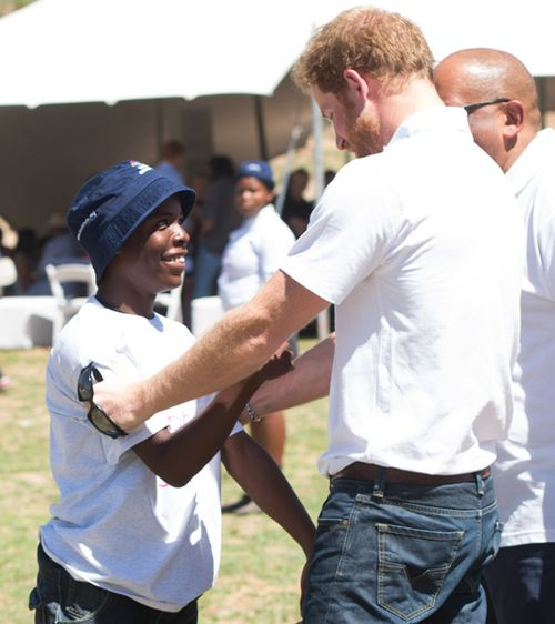 Prince Harry also reunited with Mutsu in 2015 when he returned to Africa for the opening of Sentebale's new children's centre. Picture: AAP.