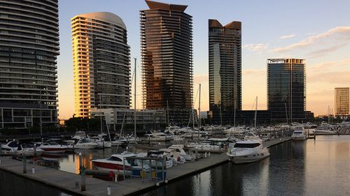 It was already warming up in Docklands by 6am today. (Supplied/Greg Henkel)