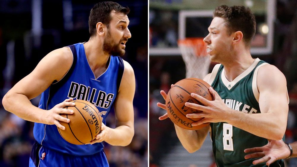Andrew Bogut and Matthew Dellavedova will play for new teams. (AAP)