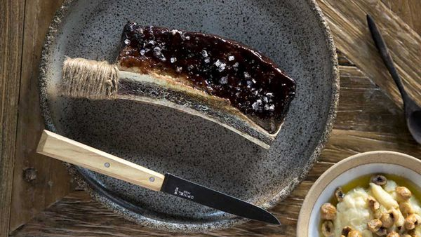 Beef short rib glazed in yeast and prune