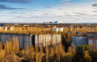 Chernobyl neighbourhoods and apartment blocks abandoned, reclaimed by nature