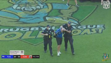 A video shows police and security taking down the man in the middle of C-BUS stadium.