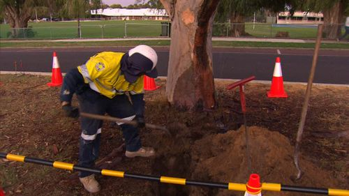 Water Corporation workers investigating the strange leak (9News)