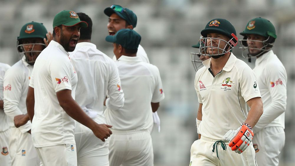 Disaster for Australia in Bangladesh Test after late batting collapse before stumps