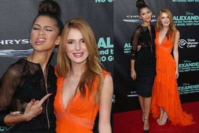 Actresses Zendaya and Bella Thorne get cheeky on the red carpet for <I>Alexander and the Terrible, Horrible, No Good, Very Bad Day</i> premiere.
