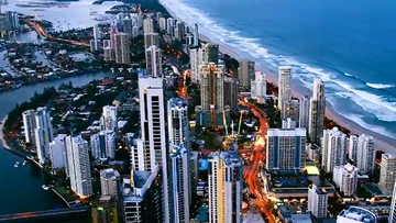 A city view of the Gold Coast skyline.