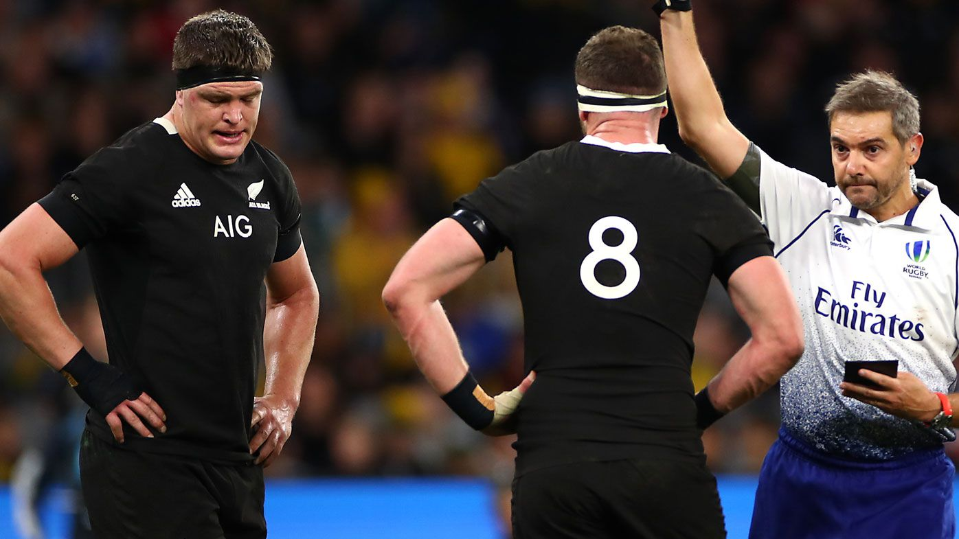 Scott Barrett of New Zealand is shown the red card during the 2019 Rugby Championship Test Match between the Australian Wallabies and the New Zealand All Blacks