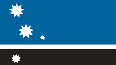 "<p>""My design stands for our uniqueness in the world 4 stars represent 4 inhabited islands Blue represents the pacific ocean White represents ice and snow Black represents diversity in people and culture, flora and fauna, history.""</p> <p>People, Land and Sea by George Webb from Auckland. (NZ Government)</p>"