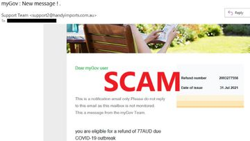 This scam email claiming to be from MyGov tells people they are owed money from the government due to the COVID-19 pandemic.