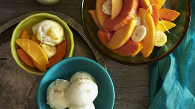"Recipe:&nbsp;<a href=""http://kitchen.nine.com.au/2016/05/17/14/24/mango-yoghurt-sorbet-with-tropical-fruit"" target=""_top"" draggable=""false"">Mango yogurt sorbet with tropical fruit</a>"