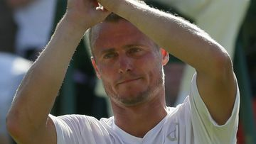 Lleyton Hewitt farewells the crowd at Wimbledon.