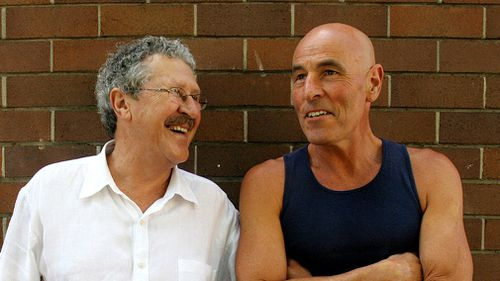 """Australian comedians and creators of the 70's television program """"The Aunty Jack Show"""" Rory O'Donoghue (right) and Graham Bond. (AAP)"""