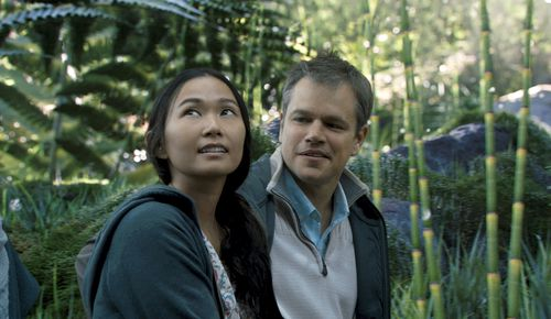 Hong Chau, left, and Matt Damon appear in a scene from Downsizing. (AAP)