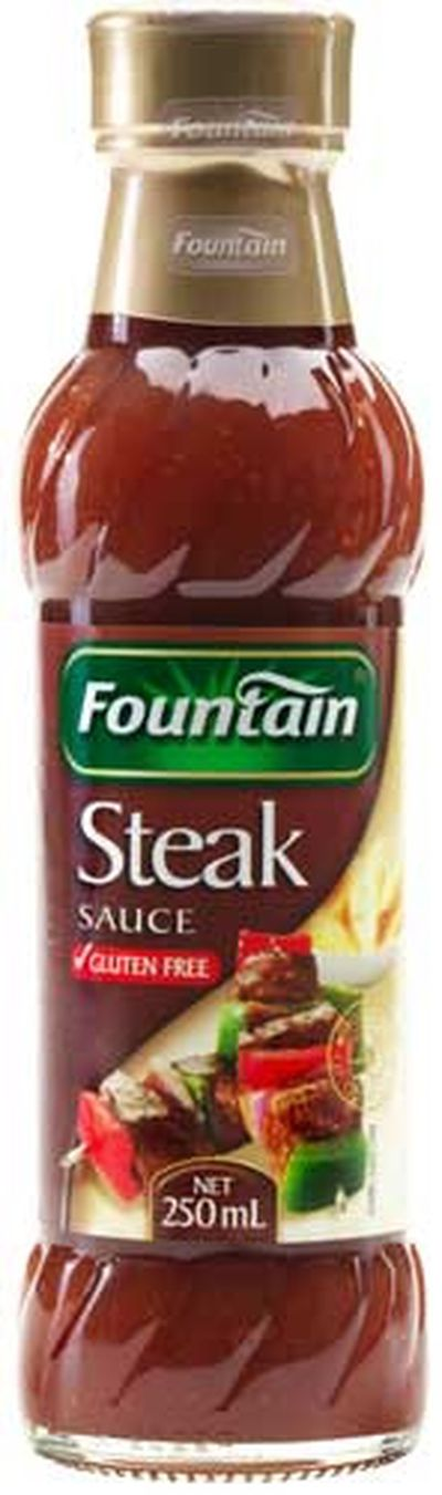 <strong>Fountain steak sauce (49.7 grams of sugar per 100ml)</strong>