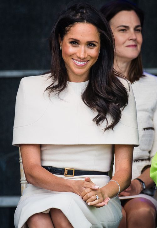 Meghan wore a stunning neutral dress by Givenchy, who designed her wedding dress. Picture: Getty