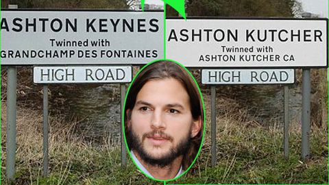 Video: WTF: English villages renamed 'Ashton Kutcher'