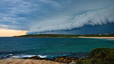 ninemsn reader Cindy Lowe sent in this photo of the storm seen over Maroubra beach.