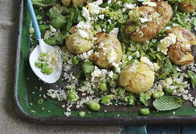 Potato, quinoa and broad bean salad